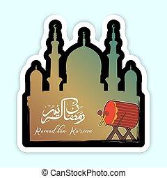 Vector illustration of Ramadan Kareem with a bedug