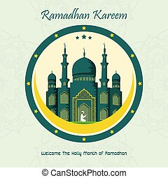 Ramadan Kareem with Mosque background