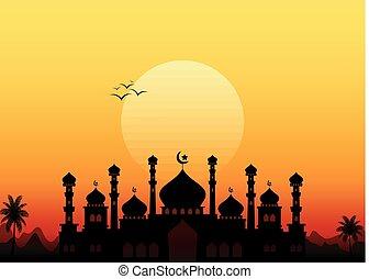Ramadan kareem with mosque