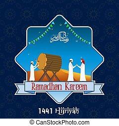 Vector Illustration of Ramadan Kareem with muslim people