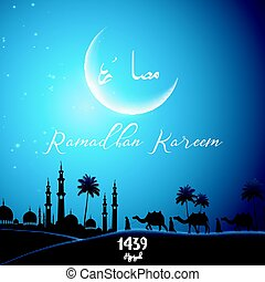Ramadan Kareem with walking camel caravan at night day -...