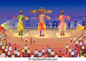 Ravana burning in Dussehra - vector illustration of Ravana...