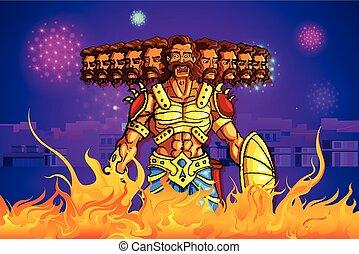Ravana Burning In Fire On Dussehra