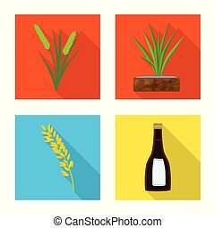 Vector illustration of raw and agricultural sign. Collection of raw and ecological stock symbol for web.