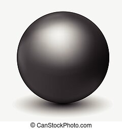 Vector illustration of realistic black pearls with shadow and reflections isolated on background