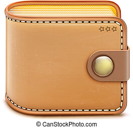 realistic closed wallet - Vector illustration of realistic ...