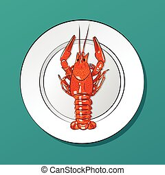 vector illustration of realistic crawfish on plate