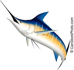 Realistic marlin fish jumping - Vector Illustration of...