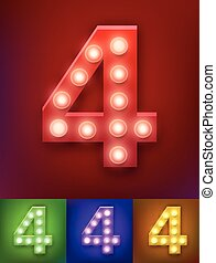 Vector illustration of realistic old lamp alphabet for light board. Vintage vegas show typography. Number 4