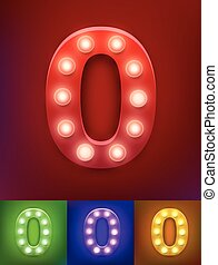 Vector illustration of realistic old lamp alphabet for light board. Vintage vegas show typography. Number 0