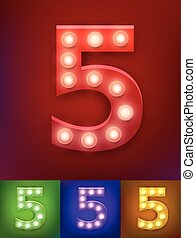 Vector illustration of realistic old lamp alphabet for light board. Vintage vegas show typography. Number 5