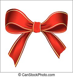 Vector illustration of realistic red bow isolated on white background