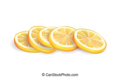 Vector Illustration of Realistic Yellow Fresh Lemon Slices Isolated on White background