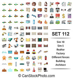 Vector illustration of realtor, factory, different, fences building architect icon set.