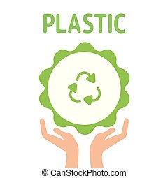 Vector illustration of recycling symbol. Green recycling icon. Three dimensional recycling icon. Zero waste, recycling sign. Green rubber stamp with text Organic natural product icon isolated on white background. Vector Modern vector illustration logo