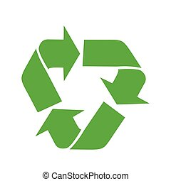 Vector illustration of recycling symbol isolated on white