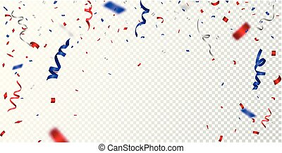 Red and blue confetti , isolated on transparent background