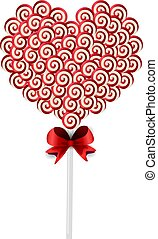 Sweet candy heart on stick with twisted pattern on white...