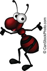 vector illustration of red ant cartoon