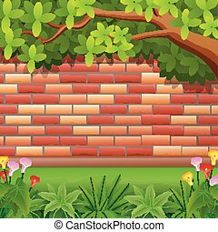 Red brickwall background with tree