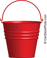 Vector illustration of red bucket