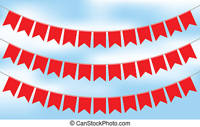 Vector illustration of red bunting