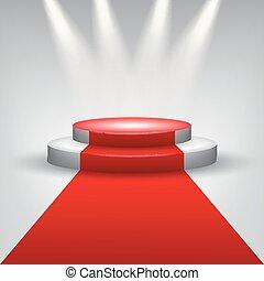 Red carpet to podium stage