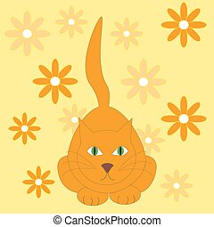 Vector illustration of red cat.