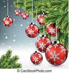 Red christmas ball hanging on pine