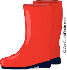Vector illustration of red color rubber boots