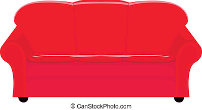 red couch - vector illustration of red couch