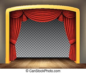 Red curtain of classical theater with wood floor on transparent background