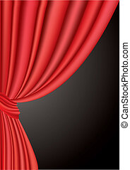 vector illustration of red curtain under black background