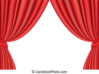 Vector Illustration Of Red Curtain Under The White Background