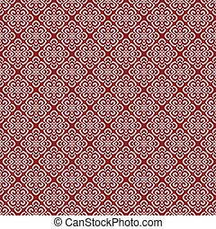 Vector illustration of red damask pattern