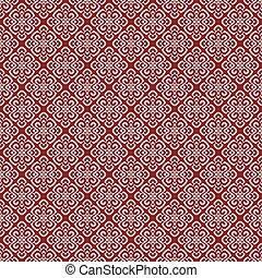 Vector illustration of red damask pattern