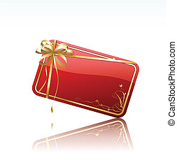 gift card - Vector illustration of red decorated gift card...