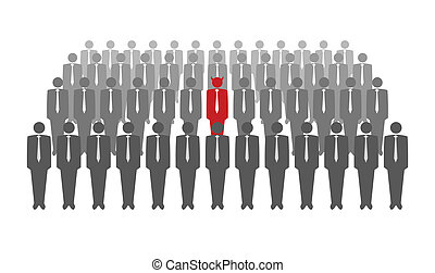 Vector illustration of red devil in crowd