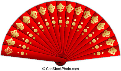 Vector illustration of red fan