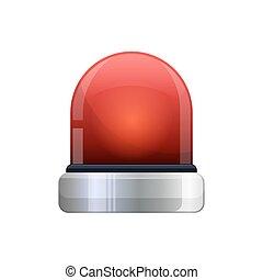 vector illustration of red flashing emergency light