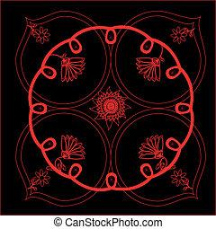 vector illustration of red floral pattern