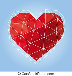 vector illustration of red geometric polygonal heart