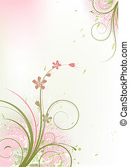 Grunge Floral Background - Vector illustration of red Grunge...