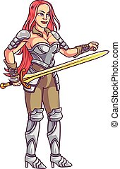 Vector Illustration of Red Haired Female Fantasy Warrior with sword