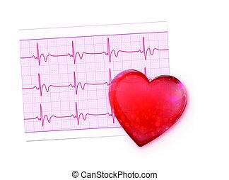 Electrocardiogram Record Paper - Vector illustration of red...