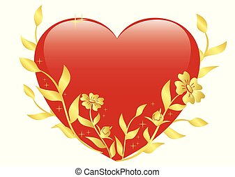 vector illustration of red heart with gold plants