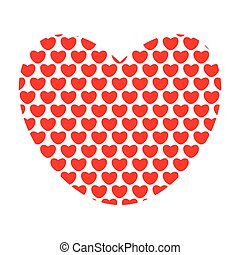 Vector illustration of red hearts in the shape of heart.