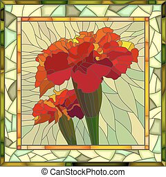 Vector illustration of red marigold. - Vector mosaic of...