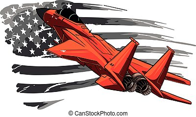 vector illustration of red Military fighter jets with american flag.
