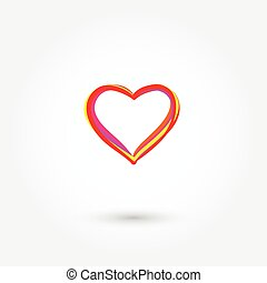 Vector illustration of red outline sketch handwriting heart